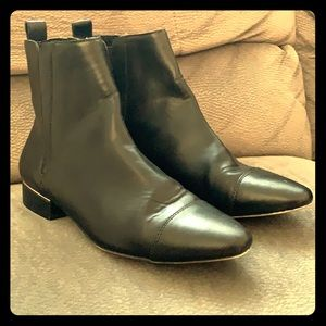 Zara Ankle Boots Black Vegan Leather Booties 8 M